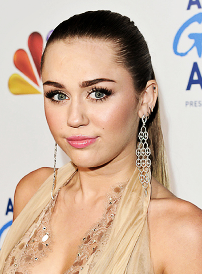 Miley Cyrus Long, Sophisticated, Party, Brunette Ponytail