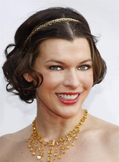 Milla Jovovich Brunette, Curly, Short Hairstyle