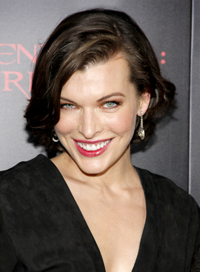 Milla Jovovich's Short, Sophisticated, Wavy, Brunette Hairstyle
