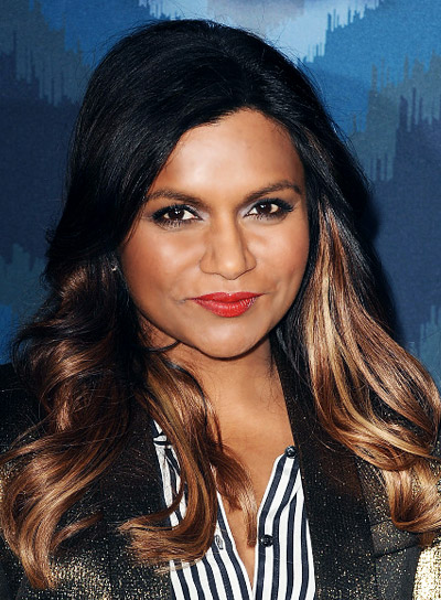 Mindy Kaling with a Curly, Romantic, Long Hairstyle with Highlights Pictures