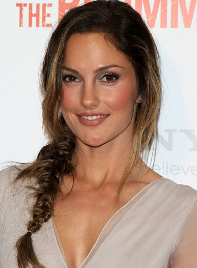 Minka Kelly Long, Chic, Brunette Hairstyle with Braids and Twists