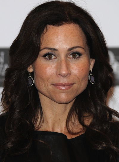 Minnie Driver Curly, Sophisticated, Brunette Hairstyle