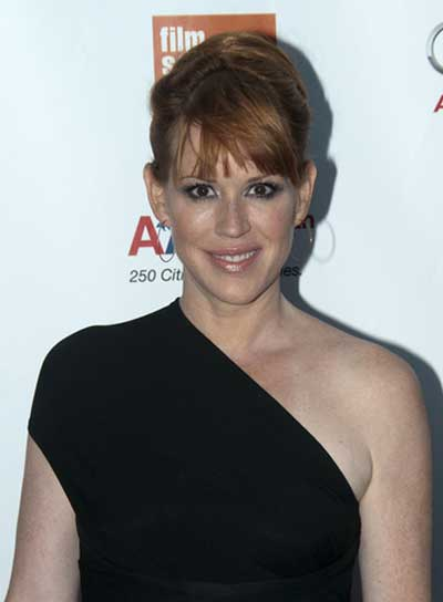 Molly Ringwald Chic, Red Updo with Bangs