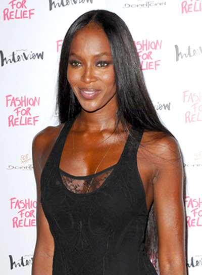 Naomi Campbell's Long, Black, Chic, Straight Hairstyle