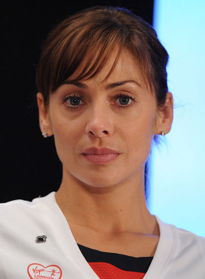 Natalie Imbruglia Straight, Brunette Updo with Bangs