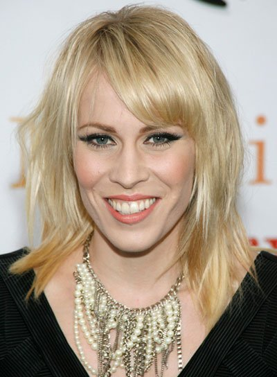 Natasha Bedingfield Medium, Straight, Blonde Hairstyle with Bangs