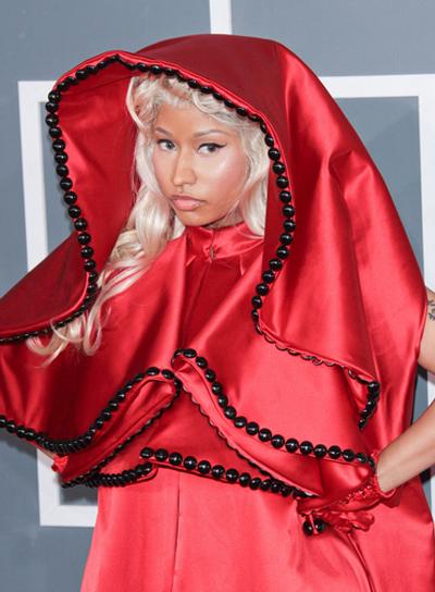 Nicki Minaj Long, Curly, Blonde Hairstyle with Bangs