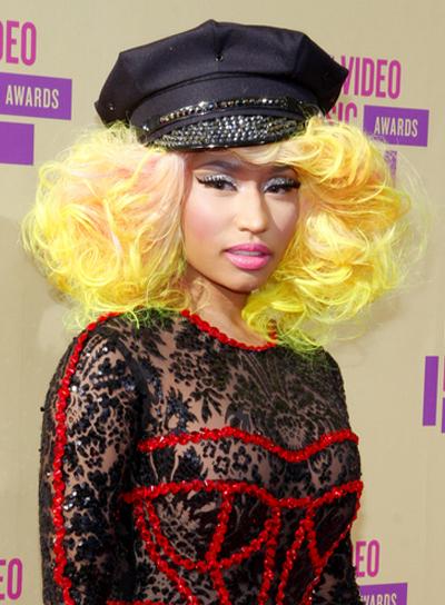 Nicki Minaj's Medium, Funky, Tousled, Edgy Hairstyle