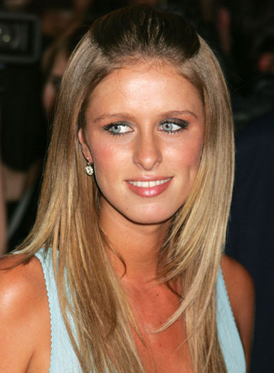 Nicky Hilton Straight Half Updo for Oval Faces