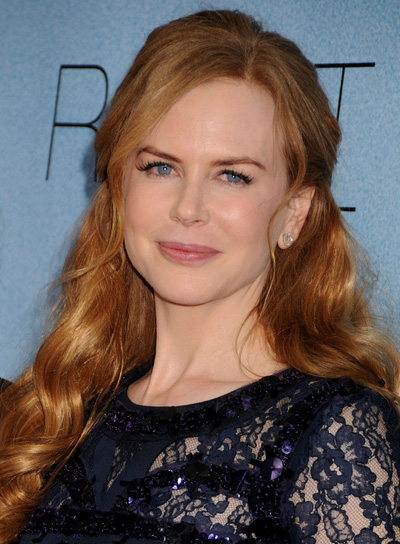 Nicole Kidman Long, Curly, Sophisticated, Red Half Updo
