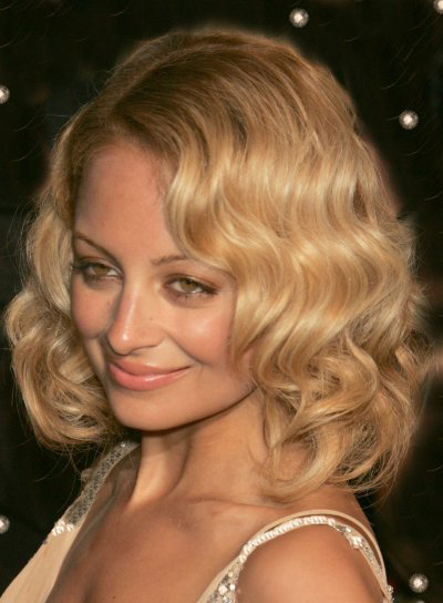 Nicole Richie Medium-Length, Curly, Blonde Bob