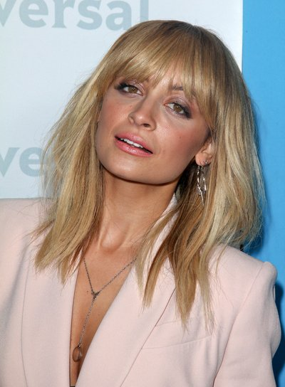 Nicole Richie Medium, Straight, Edgy, Blonde Hairstyle with Bangs