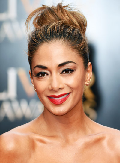 Nicole Scherzinger with a Long, Brunette, Tousled, Updo Hairstyle Pictures
