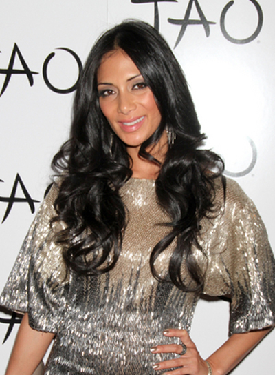 Nicole Scherzinger Long, Curly, Layered, Tousled, Sexy, Black Hairstyle