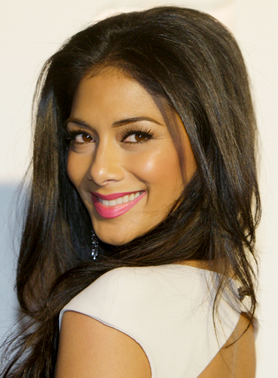 Nicole Scherzinger's Long, Tousled, Party, Brunette Hairstyle