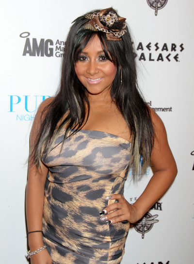 "Nicole ""Snooki"" Polizzi Long, Black Hairstyle with Highlights"