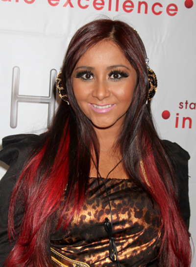 "Nicole ""Snooki"" Polizzi Long, Layered, Black Hairstyle with Red Highlights"