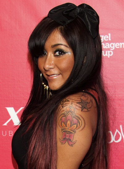 "Nicole ""Snooki"" Polizzi Long, Straight, Chic, Black Hairstyle"