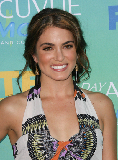 Nikki Reed Sophisticated, Chic, Curly, Brunette Updo