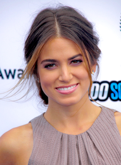 Nikki Reed's Tousled, Brunette, Romantic, Updo Hairstyle