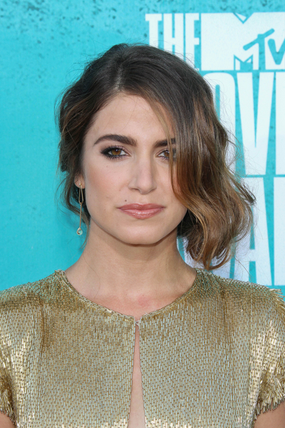Nikki Reed's Wavy, Sophisticated, Brunette, Updo Hairstyle
