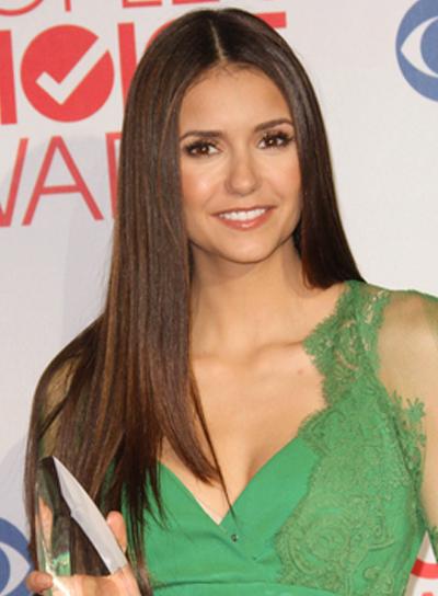 Nina Dobrev Long, Straight, Sophisticated, Brunette Hairstyle