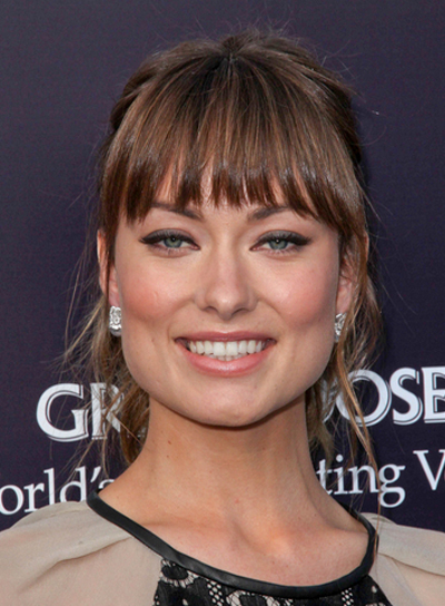 Olivia Wilde Tousled, Straight Updo with Bangs