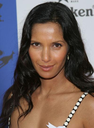 Padma Lakshmi Long, Curly, Black Hairstyle