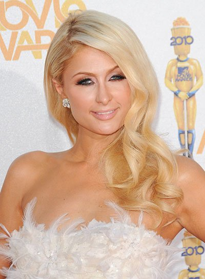 Paris Hilton Curly, Romantic, Blonde Hairstyle