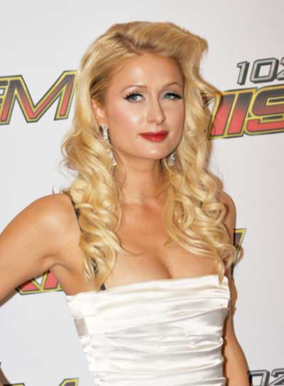 Paris Hilton Curly, Sophisticated, Romantic, Prom, Blonde Hairstyle