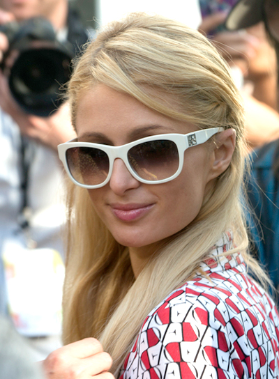 Paris Hilton's Long, Straight, Blonde Hairstyle with Braids and Twists