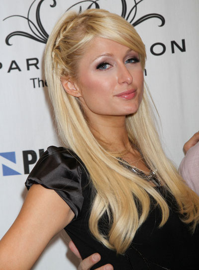 Paris Hilton Straight, Blonde Hairstyle with Braids and Twists and Bangs