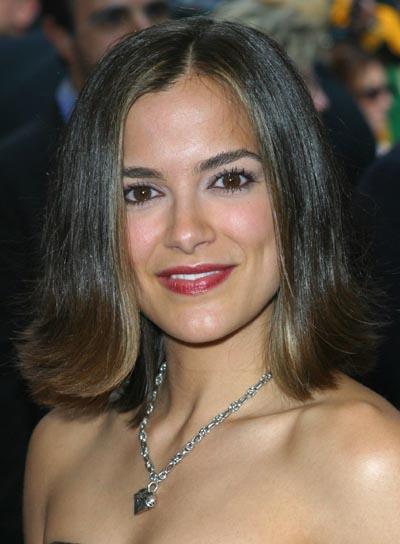 Rebecca Budig Brunette, Straight, Medium-Length Hairstyle