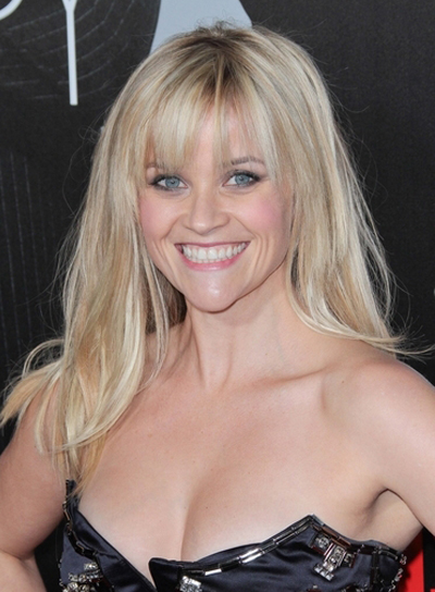 Reese Witherspoon Long, Straight, Blonde Hairstyle with Bangs