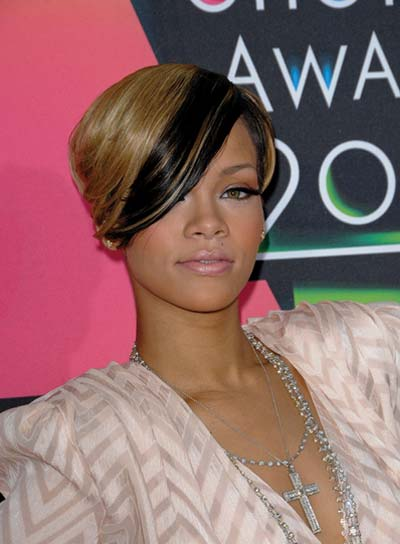 Rihanna Short, Funky Hairstyle with Bangs