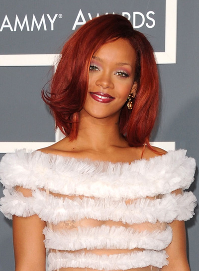 Rihanna Short, Straight, Red Bob