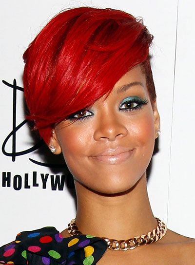 Rihanna Short, Edgy, Red Hairstyle