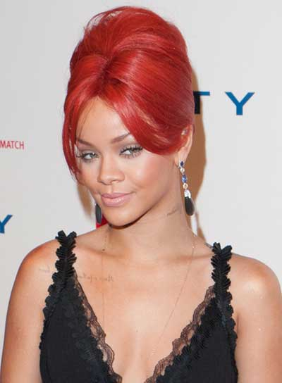 Rihanna Sophisticated, Chic, Red, Prom Updo