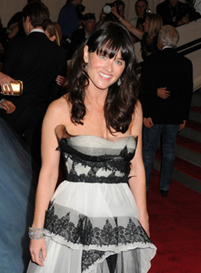 Robin Tunney Long, Wavy, Black Hairstyle with Bangs