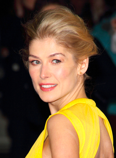 Rosamund Pike's Funky, Tousled, Blonde, Updo Hairstyle