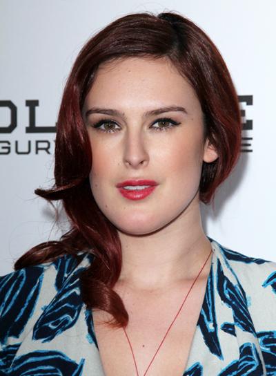 Rumer Willis Medium, Curly, Red Hairstyle