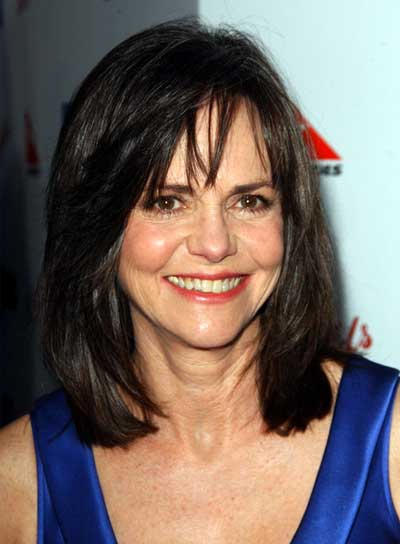 Sally Field Medium, Straight, Brunette Hairstyle with Bangs