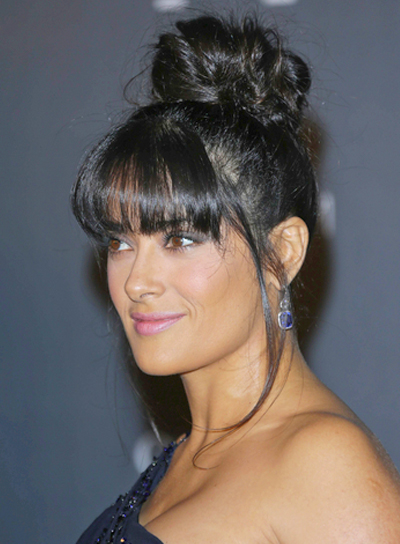 Salma Hayek's Chic, Black, Updo Hairstyle with Bangs