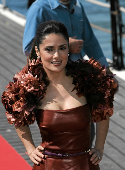 Salma Hayek Straight, Sophisticated, Black Ponytail
