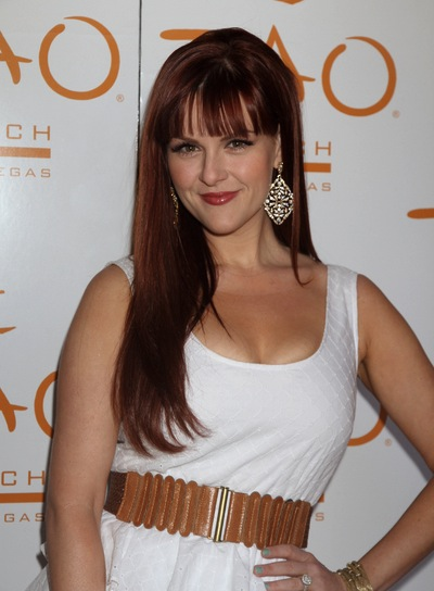 Sara Rue Long, Romantic, Red, Straight Hairstyle with Bangs