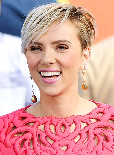 Scarlett Johansson with a Short, Blonde, Straight, Edgy Hairstyle.