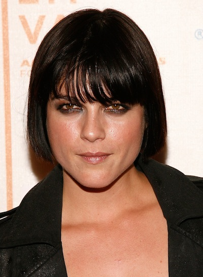 Selma Blair Short, Black, Straight Bob with Bangs