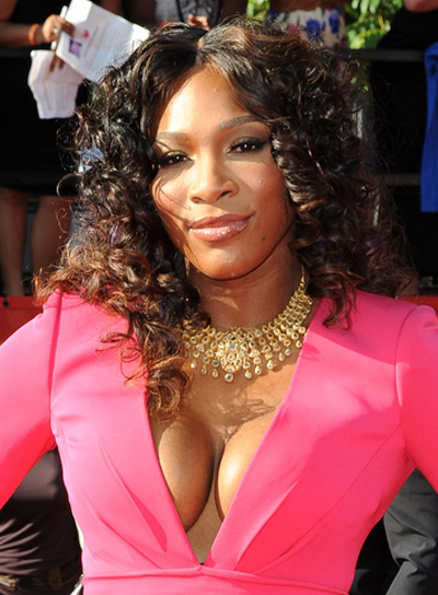 Serena Williams Medium, Curly, Brunette Hairstyle