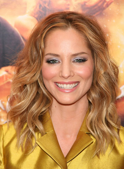 Sienna Guillory Medium, Wavy, Romantic, Blonde Hairstyle