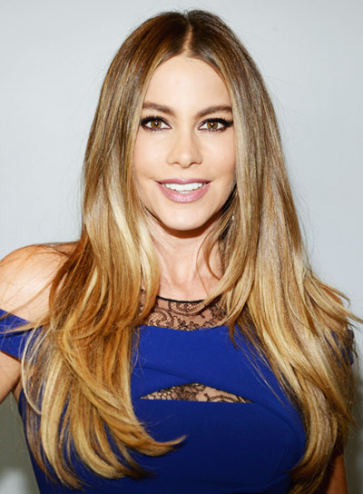 Sofia Vergara with a Long, Straight, Brunette, Romantic Hairstyle Pictures